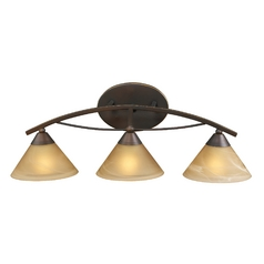 Modern Bathroom Light with Beige / Cream Glass in Aged Bronze Finish