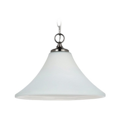 Pendant Light with White Glass in Antique Brushed Nickel Finish