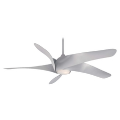 Modern Ceiling Fan with Light with White Glass in Silver Finish
