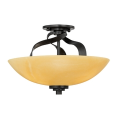 Bronze Ceiling Light with Onyx Dome Shade and Three Lights