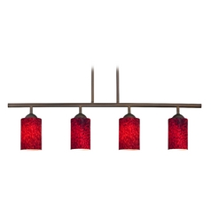 Modern Linear Pendant Light with 4-Lights and Red Glass in Bronze Finish