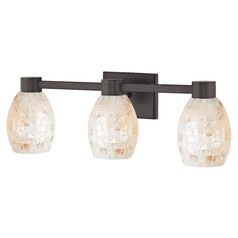 3-Light Mosaic Glass Vanity Light Bronze