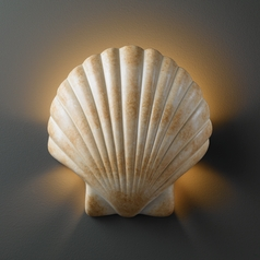 Shell Sconce Light in Scallop Shell Finish
