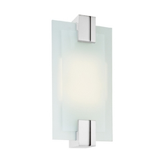 Modern Sconce Wall Light with White Glass in Polished Chrome Finish