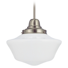Design Classics Lighting 14-Inch Schoolhouse Satin Nickel Pendant Light FB6-09 / GA14