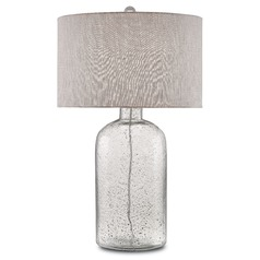 Currey and Company Lambeth Clear Speckled Glass/steel Gray Table Lamp with Drum Shade