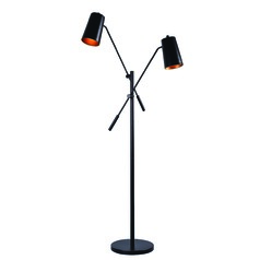 Avallone Matte Black Floor Lamp with Cylindrical Shade by Kenroy Home