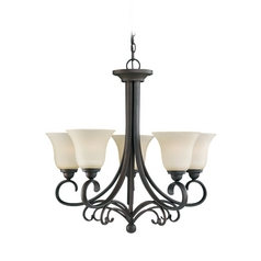Chandelier with Beige / Cream Glass in Chestnut Bronze Finish