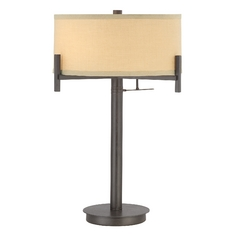 Contemporary Table Lamp with Beige Drum Shade