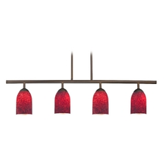 Modern Island Light with Red Glass in Neuvelle Bronze Finish