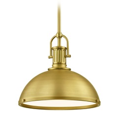 Industrial Metal Pendant Light Brass 13.38-Inch Wide
