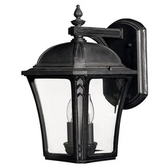 LED Outdoor Wall Light with Clear Glass in Museum Black Finish