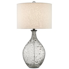 Currey and Company Luc Clear Speckled Glass/steel Gray Table Lamp with Drum Shade