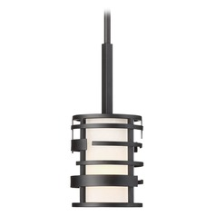 Nuvo Lighting Lansing Textured Black Pendant Light with Cylindrical Shade