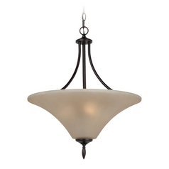 Pendant Light with Beige / Cream Glass in Burnt Sienna Finish
