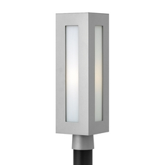 Modern Post Light with White Glass in Titanium Finish