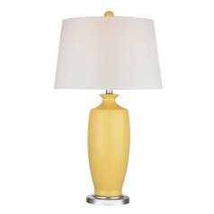 Table Lamp with White Shades in Sunshine Yellow Finish