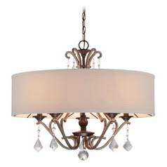 Minka Gwendolyn Place Dark Rubbed Sienna Pendant Light with Drum Shade