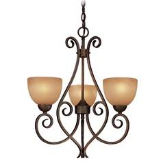 Minka Lighting, Inc. Mini-Chandelier with Beige / Cream Glass in Golden Bronze Finish 723-355
