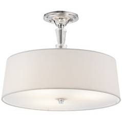 Kichler Crystal Ceiling Light with White Shade in Chrome Finish