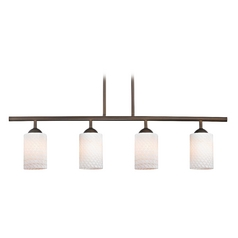 Modern Island Light with White Glass in Neuvelle Bronze Finish