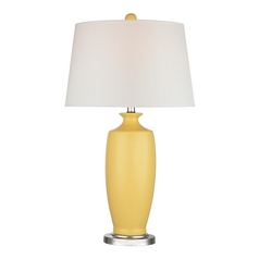 LED Table Lamp with White Shades in Sunshine Yellow Finish