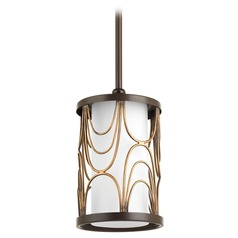 Progress Lighting Cirrine Antique Bronze Mini-Pendant Light with Cylindrical Shade