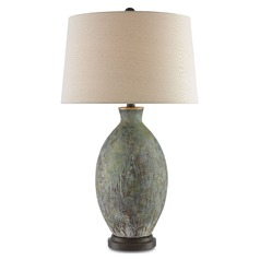 Currey and Company Remi Green, Dark Red Drip Glaze/bronze Gold Table Lamp with Empire Shade