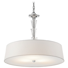 Kichler Crystal Drum Pendant Light with White Shade in Chrome Finish