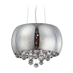 Modern Low Voltage Drum Pendant Light with Mercury Glass in Smoke Mirrored Glass Finish