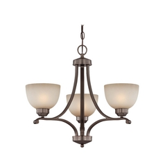 3-lt Chandelier in Harvard Court Bronze Finish - French Scavo Glass