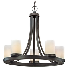 Five Light Old World Round Candle Chandelier Light in Bronze Finish