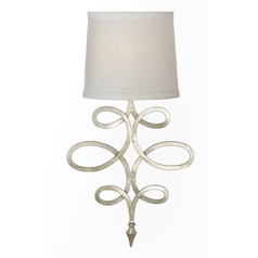 Wall Lamp with White Shade in Silver, Foil Finish