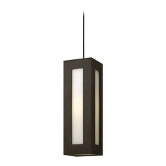 Modern Outdoor Hanging Light with White Glass in Bronze Finish