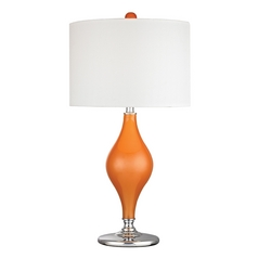 Table Lamp with White Shades in Tangerine Orange with Polished Nickel Finish