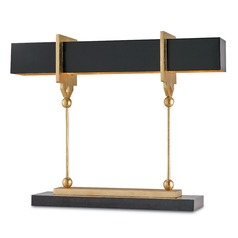 Currey and Company Lighting Apropos Satin Black / Contemporary Gold Leaf Table Lamp with Rectangle S