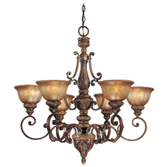 Chandelier with Brown Glass in Illuminati Bronze Finish