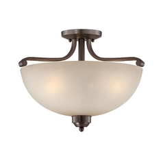 Semi-Flushmount Light in Harvard Court Bronze Finish - French Scavo Glass