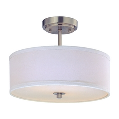 Drum Semi-Flush Ceiling Light with White Shade - 14-Inches Wide