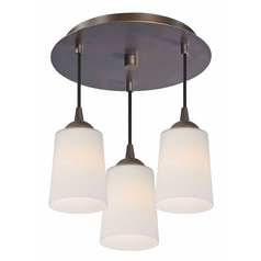 3-Light Semi-Flush Ceiling Light with White Glass in Bronze Finish - Bronze Finish