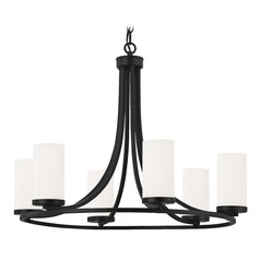 White Glass Chandelier Matte Black 6-Lt