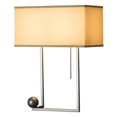 Hubbardton Forge Lighting Balance Burnished Steel Table Lamp with Rectangle Shade