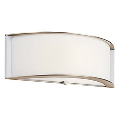 Kichler Sconce Wall Light with White in Polished Nickel Finish