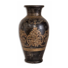 Uttermost Lighting Vase in Aged Black / Gold Finish 19318