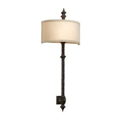 Sconce Wall Light with Beige Shade in Umbria Bronze Finish