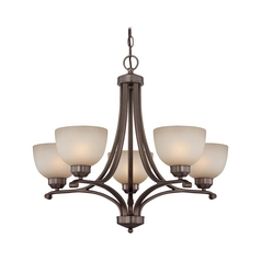 Chandelier with Beige / Cream Glass in Harvard Court Bronze Finish