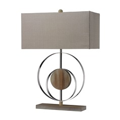 Dimond Lighting Bleached Wood, Chrome Table Lamp with Rectangle Shade
