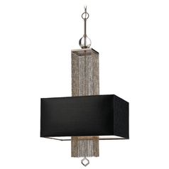 Modern Pendant Light with Black Shades in Silver, Nickel Finish