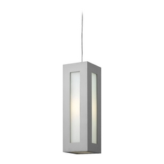 Modern Outdoor Hanging Light with White Glass in Titanium Finish