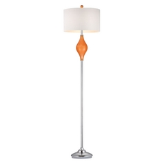 Floor Lamp with White Shades in Tangerine Orange with Polished Nickel Finish